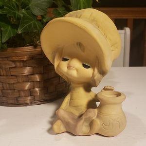 Mid century Hippie girl candle holder